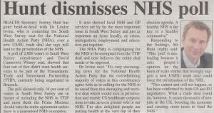 Hunt Dismisses NHS Poll Herald
