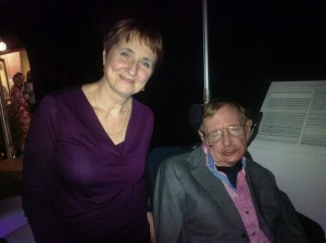 Dr Louise Irvine with Stephen Hawking