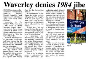 Waverley denies 1984 jibe