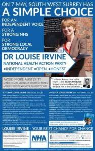 Election Ad, Farnham Herald - A Simple Choice - Dr Louise Irvine