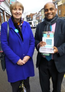 Louise Irvine and Johan Malawana (Chair JDC, BMA) campaigning in Farnham town centre