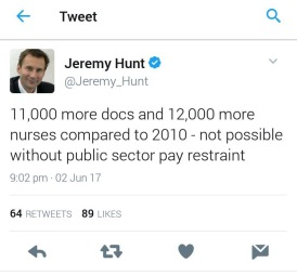 Jeremy Hunt tweet on nurse and doc numbers